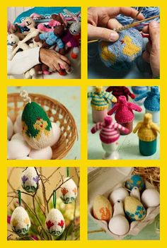 Arne and Carlos knitted easter eggs and bunnies from Norway