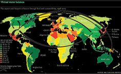 Water footprint of the world. Agriculture uses 92% of global freshwater consumption. via The Guardian