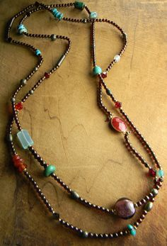 Multi-Gemstone Knotted Necklace