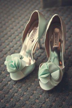 Badgley Mischka sea green mint wedding shoes! Perfect Wedding day shoes!-- Aimee Reynolds Photography   Keywords: #mintweddings #jevelweddingplanning Follow Us: www.jevelweddingplanning.com  www.facebook.com/jevelweddingplanning/