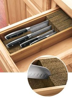 KnifeDoc keeps any knife safely stored in a drawer. Made of cork and rubber to prevent dulling, too.