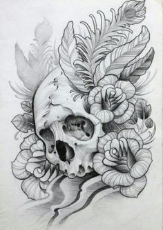 I love skulls and flowers, life and death together