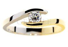 Oryginalny, dwukolorowy pierścionek zaręczynowy z brylantem 0,19 ct - GRAWER W PREZENCIE | PIERŚCIONKI ZARĘCZYNOWE \ Brylant \ Dwukolorowe złoto od GESELLE Jubiler