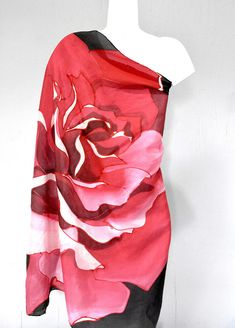 Silk Scarf Square, Red Rose, Hand Painted Silk Scarf, Japan Scarf, Gift for Wife, Gift for Her, Unique Christmas Gift, Square Scarf The Crimson Red Rose Silk Scarf is an ample sized square Silk Habotai scarf. This is a light weight silk scarf thicker than chiffon, a perfect silk