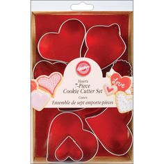Wilton Metal Heart Cookie Cutter Set: Love comes in all shapes and sizes. This Wilton set includes 7 different heart cutter designs from stylized to traditional. Heart Shaped Cookie Cutter, Metal Cookie Cutters, Cookie Cutter Set, Valentines Day Pizza, Valentines Day Cookies, Baking Supplies, Baking Tools, Baking Ideas, Heart Cookies