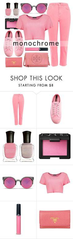 """Monochrome Pink"" by smartbuyglasses-uk ❤ liked on Polyvore featuring Topshop, Novesta, Deborah Lippmann, NARS Cosmetics, Quay, Boohoo, Armani Beauty, Prada, Tory Burch and Pink"