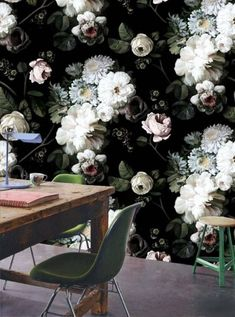 Ellie Cashman Wallpaper - this floral wallpaper almost looks Ellie Cashman Wallpaper, Black Wallpaper, Beautiful Wallpaper, Flower Wallpaper, Crazy Wallpaper, Accent Wallpaper, Bright Wallpaper, Forest Wallpaper, Stunning Wallpapers