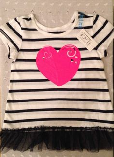 Baby Girls Clothes Summer Top Ruffles Glitter Heart Childrens Place 3T Nwt