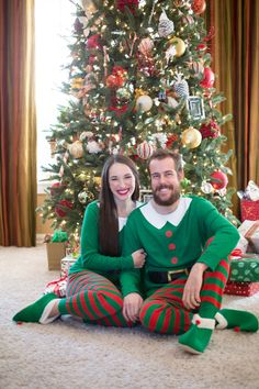 His and Her Elf PJs Happy Holidays, Christmas Holidays, Christmas Tree, Stylish Couple, Merry Christmas Everyone, Fashion Couple, Xmas Party, Holiday Time, Pjs
