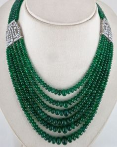 TOP QUALITY NATURAL ZAMBIAN EMERALD ROUND BEADS NECKLACE WITH DIAMOND 18K GOLD