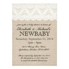 white heart shape lace rustic burlap baby shower