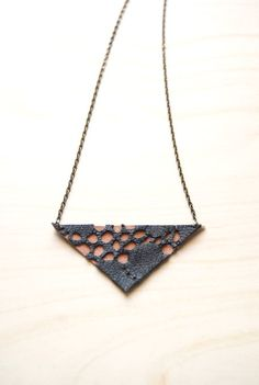 Black Leather Lace Triangle Necklace  http://www.etsy.com/listing/88448932/black-leather-lace-triangle-necklace