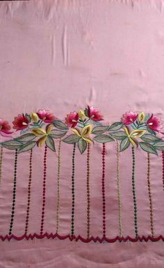 Hand Embroidery Patterns Flowers, Border Embroidery Designs, Hand Embroidery Dress, Kurti Embroidery Design, Hand Embroidery Videos, Embroidery Fashion, Beaded Embroidery, Machine Embroidery Designs, Neck Designs For Suits
