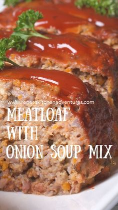 Meatloaf with Onion Soup Mix by Renee's Kitchen Adventures. Easy 6 ingredient retro recipe for a moist and flavorful meatloaf. It's the one you used to get on the back of the box with a few extra tips and tricks added. Mom's meatloaf recipe. Onion Soup Mix, Soup Mixes, Meatloaf, Food, Essen, Meals, Yemek, Eten