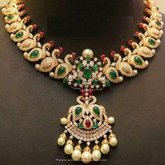 gold emerald necklace designs, 22k gold emerald necklace models, Emerald Necklace Collections