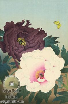 Two Peonies and Butterfly by Ohno, Bakufu(Japanese Print)
