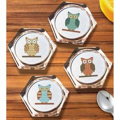 "Owl Coaster Set Counted Cross Stitch Kit-3.9"" Hexagon 18 Count Set Of 4"