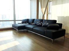 L-Shape Black Leather Sofa - Max9005