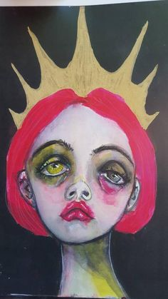 Mini Print of a mixed media original painting. The crown, Sad girl art. Sad Girl Art, Sad Girl Drawing, Art Sketches, Art Drawings, Arte Obscura, Hippie Art, Arte Pop, Weird Art, Psychedelic Art
