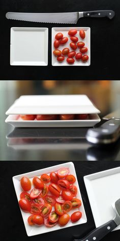 Use 2 plates to safely cut a bunch of tiny tomatoes at once! #WhatTheHack