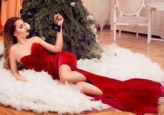CRISTALLINI #RedDress #Velvet #EveningDress #Luxury