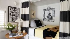 <p>Take advantage of small nooks. In designer Stephen Shubel's small California cottage, the guest room's bed fits into a cozy alcove. Mann-O-Print curtains frame the guest room's shipshape berth with built-in drawers. The Louis XVI portrait is a photocopy paper assemblage by Woody Biggs.</p>