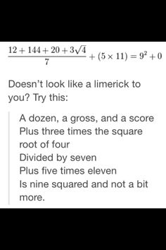 Mathematical limeric