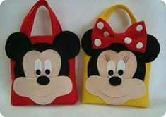 Sweetie/goodie/play bags x by Mickey Mouse Crafts, Disney Crafts, Mickey Minnie Mouse, Baby First Birthday, First Birthday Parties, Felt Diy, Felt Crafts, Sewing Crafts, Sewing Projects