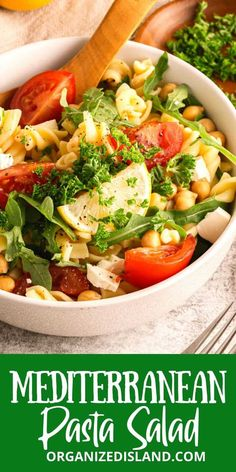 A delicious Mediterranean Pasta Salad that is refreshing and fresh, and easy to make. It is made with garden tomatoes, chickpeas, arugula, and pasta and is tossed in a light dressing Easy Pasta Recipes, Frugal Recipes, Noodle Recipes, Simple Recipes, Party Recipes, Summer Recipes, Delicious Recipes, Mediterranean Salad Recipe, Pasta Salad Ingredients