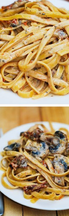 Sun dried tomato and mushroom pasta in a garlic and basil sauce - delicious and easy to make dinner! /juliasalbum/