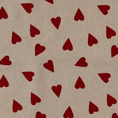 Stoff: Leinenlook mit großen roten Herzen