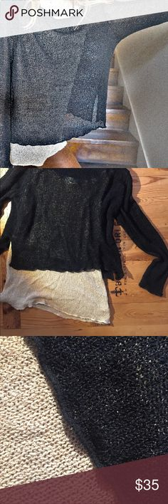 """Cream & black layered long sleeve knit L Size L, please see measurements in images. Length is 24"""" for the cream under layer and 20"""" for the black part Soft Surroundings Sweaters Crew & Scoop Necks"""