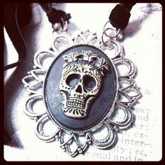 Sugar Skull Cameo Necklace www.facebook.com/skullsandstones