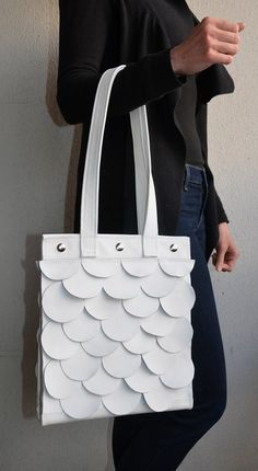 White Leather Tote White Leather Handbag by SaracinoDesigns White Leather Handbags, Leather Purses, White Shoulders, White Shoulder Bags, Leather Laptop Bag, Knitting Accessories, Totes, Unisex, Tote Bag