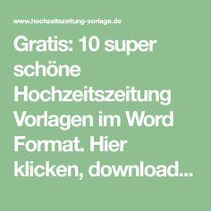 Gratis: 10 super schöne Hochzeitszeitung Vorlagen im Word Format. Hier klicken, downloaden und sofort loslegen!