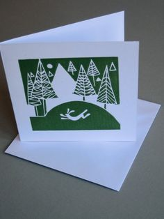 Set of 3 Cards Hare & Snow Hand Printed by TheBluebirdGallery