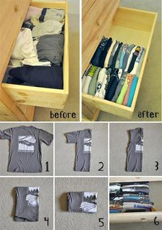Simple And Well Organized T-shirts In The Drawer