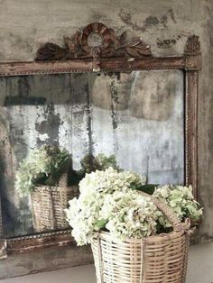 By chic shabby and French! I absolutely love the walls! I would love to emulate that in my bedroom. It's very shabby and chic! Old Mirrors, Vintage Mirrors, Mirror Mirror, Antiqued Mirror, Distressed Mirror, French Mirror, Vintage Glam, Mirror House, Sunburst Mirror