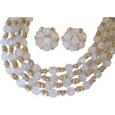 Vintage 1940s Crown Trifari Jewelry Set Three Strand Necklace Earrings Signed Estate Demi Parure http://www.rubylane.com/item/676693-JL181/Vintage-1940s-Crown-Trifari-Jewelry-Set