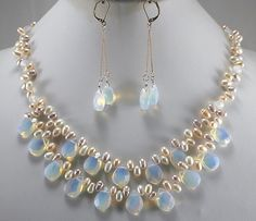 Free Shipping natural pearl jewelry Big Sale!  Light Blue Fire Opal and Fresh Water Pearl Necklace Set Bridal silver hook