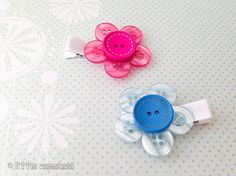 Button hair clips girls hair accessories flower by LittleRapunzel