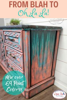 From Blah to oh la la learn how to mix over 69 colors with Dixie Belle Paint in order to create a unique finish on your furniture! Orange Painted Furniture, Teal Furniture, Chalk Paint Furniture, Colorful Furniture, Furniture Makeover, Furniture Ideas, Furniture Painting Techniques, Painting Tips, Bright Paint Colors