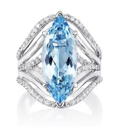 Marquise Aquamarine Ring by Parle Jewelry