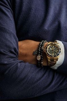 18k Gold Rolex Submariner with beaded bracelets