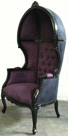 Glamorous Purple & Black Porters Chair Domed by VENETIANSOCIETY, $999.00  This would be so cool for a Disney Villain theme room