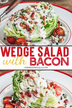 This Classic Wedge Salad, with crisp iceberg lettuce, creamy blue cheese dressing, and crumbled bacon is a steakhouse recipe that's easy to make at home! It's great for lunch or as a starter to a juicy steak dinner. Wedge Salad Recipes, Healthy Salad Recipes, Vegan Recipes, Salad Bar, Soup And Salad, Pasta Salad, Chicken Salad, Keto Chicken, Side Salad