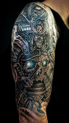 Chronic Ink tattoo, Toronto Tattoo - Skull samurai and hannya mask by Winson