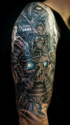 Chronic Ink tattoo,  Toronto Tattoo                                 -  Skull samurai and hannya mask by Winson