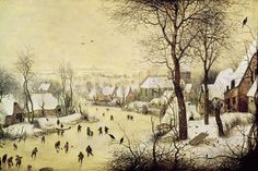 Winter Landscape with Skaters and a Bird Trap —bruegel, the elder