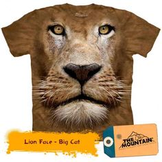 Big Face lion t-shirt by The Mountain® Big Animals, Animals For Kids, Lion Shirt, African Royalty, Big Face, Mountain Lion, 3d T Shirts, Animal Heads, Lions